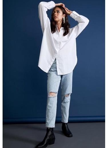 DeFacto Basic Oversize Fit Poplin Gömlek Tunik Beyaz